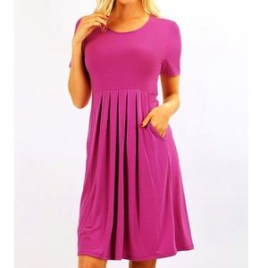 Zenana purple pleated dress with pockets